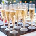 KIELISZKI do szampana bezbarwne z brokatem 8szt