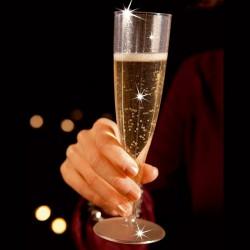 KIELISZKI do szampana bezbarwne z brokatem na Sylwestra 8szt