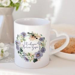 PREZENT na Dzień Babci kubek Fioletowe Kwiaty 330ml Z IMIENIEM