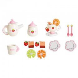 SERWIS do herbaty drewniany 16 elementów zabawa dla dziecka