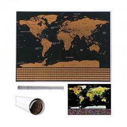 MAPA świata zdrapka z flagami PREZENT 82x59cm MEGA