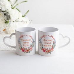 PREZENT na Dzień Babci i Dziadka Kubki Z IMIONAMI 2szt Flowery