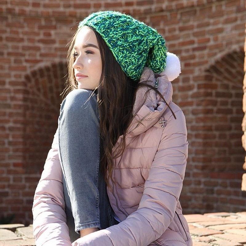 Czapka zimowa ręcznie robiona w Polsce w zielonym kolorze