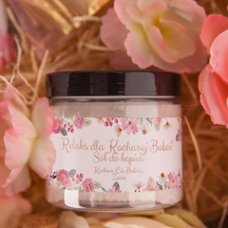 PREZENT na Dzień Babci sól do kąpieli Z PODPISEM Różowe Kwiaty