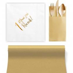 ZESTAW dekoracji stołu na Roczek BIAŁO-ZŁOTY 5% TANIEJ