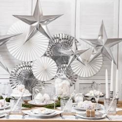 DEKORACJA świąteczna Gwiazda papierowa SREBRNA 70cm