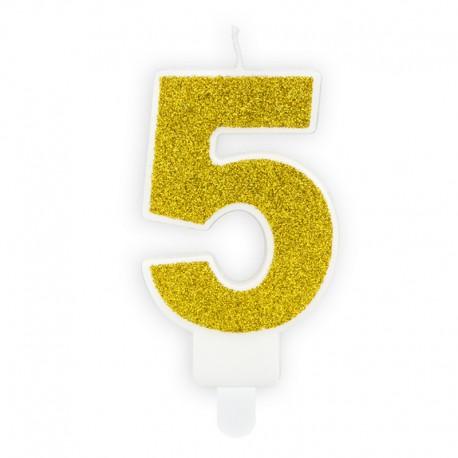 ŚWIECZKA na tort urodzinowa cyferka 5 ZŁOTA