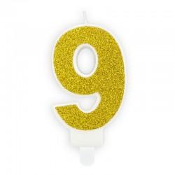 ŚWIECZKA na tort urodzinowa cyferka 9 ZŁOTA
