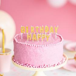 ŚWIECZKI na tort urodzinowe Happy Birthday ZŁOTE 13szt
