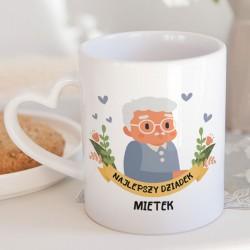 PREZENT na Dzień Dziadka kubek serce Ukochany Dziadek 330ml Z IMIENIEM