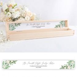 PUDEŁKO drewniane na świecę do Chrztu Z IMIENIEM Delikatne Kwiaty
