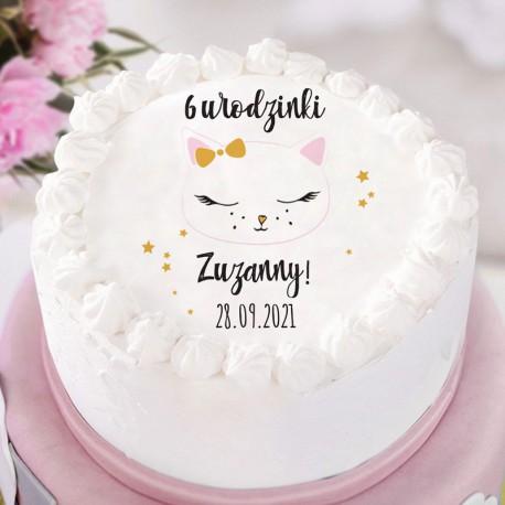 OPŁATEK na tort personalizowany na Roczek i Urodziny dziecka Słodki Kotek Ø20cm