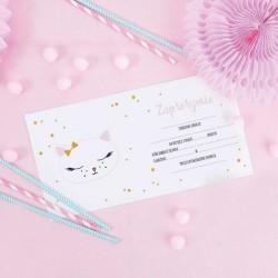ZAPROSZENIA na Urodziny dziecka Słodkie Kotki 10szt (+koperty)
