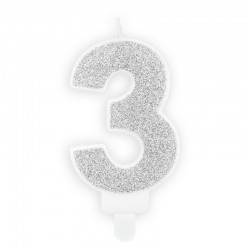ŚWIECZKA na tort urodzinowa cyfra 3 SREBRNA