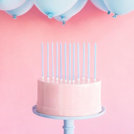 ŚWIECZKI na tort Wysokie 14cm BŁĘKITNE 12szt