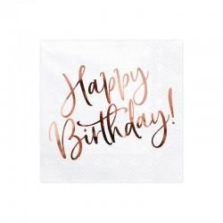 SERWETKI na Roczek i urodziny Happy Birthday ROSEGOLD 33x33cm 20szt