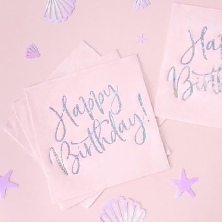 SERWETKI na Roczek i urodziny Happy Birthday HOLO 33x33cm 20szt