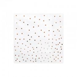 SERWETKI na Roczek i urodziny Rosegold Confetti 33x33cm 20szt