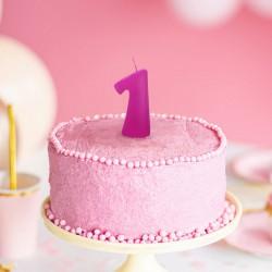 ŚWIECZKA urodzinowa Roczek RÓŻOWA