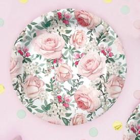 TALERZYKI na Roczek i urodzinki Róże Vintage 18cm 10szt
