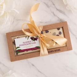 CZEKOLADA ręcznie robiona na prezent Z IMIENIEM biała z pistacją i aronią