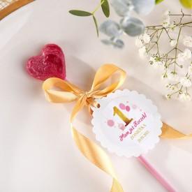 LIZAKI na Roczek Urocze Serduszko Różowo-Złota Jedynka (+bileciki kółka+naklejki z imieniem) 10szt