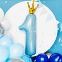 BALON na Roczek chłopca Cyfra 1 Z KORONĄ Błękit MEGA 90cm