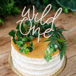 TOPPER na tort Roczek drewniany Wild One