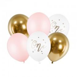 BUKIET z balonów na Roczek dziewczynki One MIX 6szt