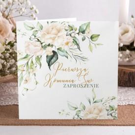 ZAPROSZENIA komunijne botaniczne Białe Kwiaty 10szt (+kraftowe koperty)