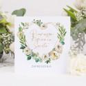 ZAPROSZENIA komunijne Serce i białe kwiaty 10szt (+koperty)