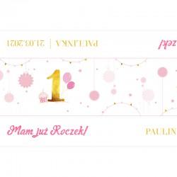 BIEŻNIK na Roczek dziewczynki Z IMIENIEM Różowo-Złota Jedynka 42cmx5m