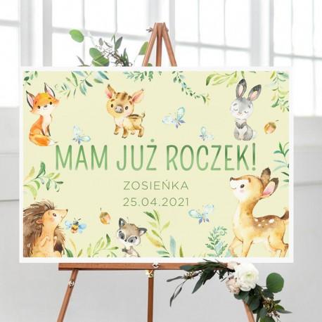 PLAKAT na Roczek Leśne Zwierzątka 50x70cm Z IMIENIEM