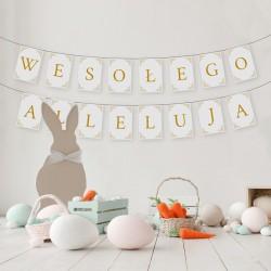 BANER na Wielkanoc BIAŁO-ZŁOTY Wesołego Alleluja