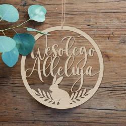 DEKORACJA na Wielkanoc wianek wielkanocny drewno Wesołego Alleluja