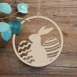 DEKORACJA na Wielkanoc wianek wielkanocny drewno Zając i Pisanki