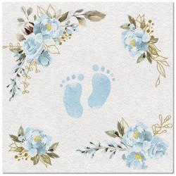 SERWETKI na Chrzest flizelinowe Błękitne Stópki i kwiaty 40x40cm 50szt