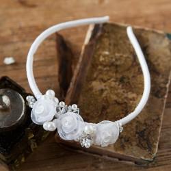 OPASKA komunijna z perełkami biała (015)