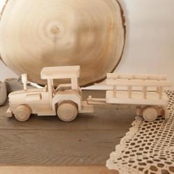 ZABAWKA drewniana dla chłopca Traktor z przyczepą