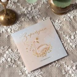 ZAPROSZENIA na Urodziny Boho z łabędziem 10szt (+złote koperty)