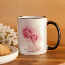 PREZENT dla Mamy kubek Kwiaty 330ml Z IMIENIEM