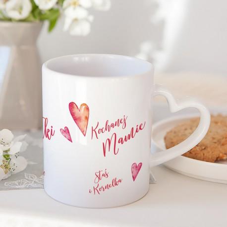 PREZENT dla Mamy kubek z sercem Kochanej Mamie 330ml Z IMIENIEM