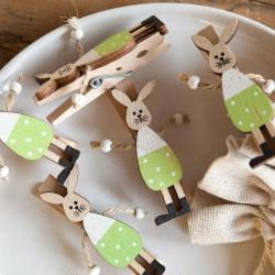 KLAMERKI na Wielkanoc z zajączkiem drewniane 8szt DUŻE