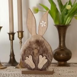 DEKORACJA na Wielkanoc drewniany Zając z futrem 24cm