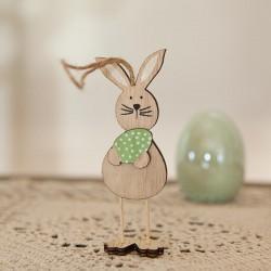 DEKORACJA na Wielkanoc zajączek drewniany mini na sznurku 4,5x12 cm