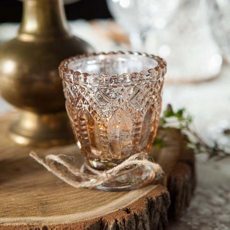 ŚWIECZNIKI ŚWIECZNIKI szklaneczki efektowny Rosegold ala kryształ 4sztefektowny Rosegold ala kryształ 4szt
