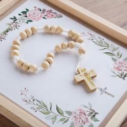 PAMIĄTKA Pierwszej Komunii prezent dla dziecka Dziesiątka Różańca Z IMIENIEM Rustykalna