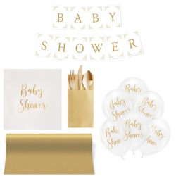 ZESTAW dekoracji na Baby Shower ZŁOTY 5% TANIEJ