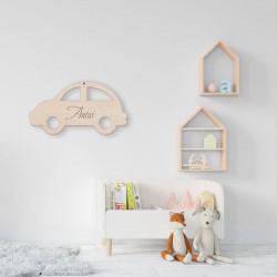 DEKORACJA pokoju dziecka Autko drewniane Z IMIENIEM 35x20
