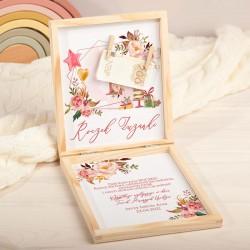 KARTKA urodzinowa na Roczek pudełko Z PODPISEM Rosegold Flowers